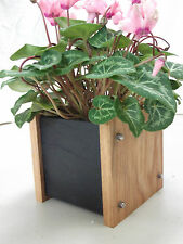 Oak Slate Design Small Plant Pot with Liner - Modern Contemporary Style