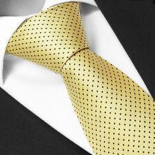 CRAVATE Luxe Jaune à pois de Marque Française - Yellow Silk tie peas - Cravatte