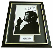CHARLIE WATTS SIGNED & FRAMED AUTOGRAPH PHOTO DISPLAY ROLLING STONES ROCK & COA