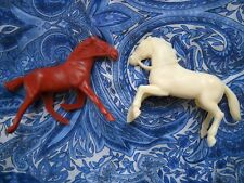 """2 1950's 4"""" HARD PLASTIC HOLLOW BELLY HORSES: EXCELLENT CONDITION"""