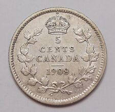 1908 LARGE 8 DATE Five Cents Silver VF-EF RARE Variety Edward VII KEY Canada 5¢