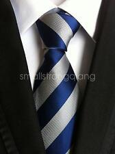 Mens Classic Blue Gray Stripe Silk Tie Necktie JACQUARD Best Man Wedding gift
