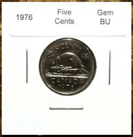 Canada 1976 Gem BU Five Cents UNC MS Nickel!!