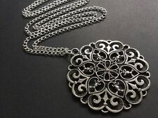 Large FLOWER pendant on a long Chain necklace LAGENLOOK Boho