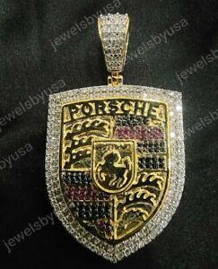1Ct Round Ruby & Sim Diamond Men's Porsche Pendant 14K Yellow Gold FN 925 Silver