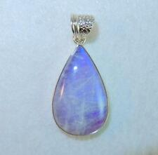 Rainbow Moonstone Large Purple Teardrop Pendant 925 Sterling Silver