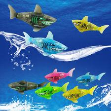 Battery Powered Robot Fish Electronic Shark Toys Lighting Swimming Bath Toys
