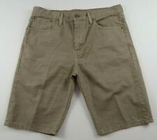 Levis Mens 508 Regular Taper Beige Khaki Denim Jean Shorts Tag 33 Measured 34