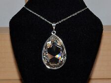 Pear-Cut Teardrop Crystal Pendant made with Swarovski in Clear & Silver