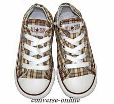 Kids Infants Boys Girls CONVERSE All Star BROWN PLAID OX Trainer Shoes SIZE UK 7