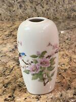"""Floral Bird Bud Vase Ceramic Porcelain East Wind Takahashi San Francisco 5.5"""""""