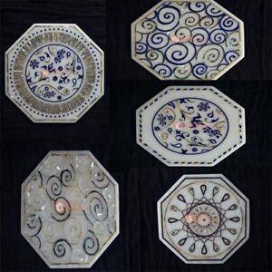 Marble Top Decorative Tile Inlaid Mosaic Stone Arts Handmade Gift Home Decor Art
