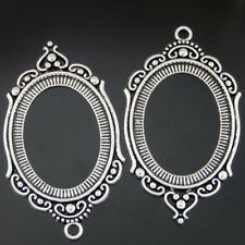 50602Light Silver Alloy Hollowed Engraved Oval Setting Tray Jewelry Crafts 3pcs