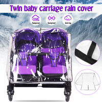 Baby Stroller Rain Cover Infant Twins Pushchair Waterproof Wind Shield Covers US