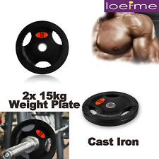 More details for 2x 15kg weight plate cast iron olympic dumbbell barbell lifting training fitness