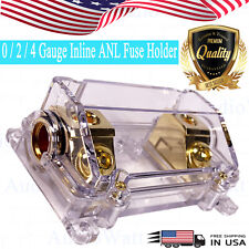 CAR STEREO AUDIO INLINE ANL FUSE HOLDER 0 2 4 IN OUT GAUGE 200 AMP 200A 200AMP