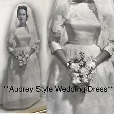Vtg Wedding Dress 50s 60s Audrey Hepburn Style Bridal Gown Boat Neck, Lace, Bow