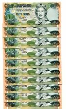 BAHAMAS 1/2 DOLLAR 2001 P-68 UNC LOT 10 PCS
