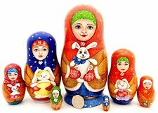 Genuine Russian HAND PAINTED nesting dolls 5 Matryoshka GIRL & Bunny Rabbit GIFT