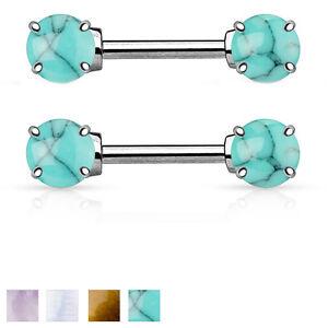 Pair of Semi Precious Stone Prong Set Surgical Steel Nipple Rings Barbells 14G