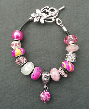 Fuchsia Pink Cerise Rhinestone European Style Beads Charm Bracelet Flower Clasp