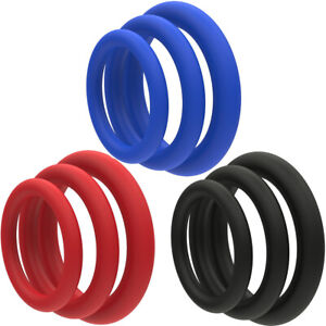 Cock Ring 3 Pack Soft Stretchy Silicone | Stay Hard Penis Rings Last Longer ED