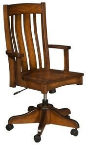 Amish Arts & Crafts Solid Wood Desk Arm Chair Gas Lift Rolling Office Furniture
