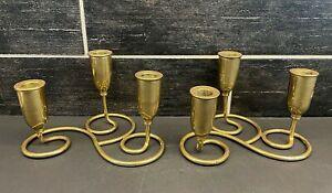 Vtg Pair 3 Arm MCM Swirl Brass Candlestick Candle Holders Candelabra Modern