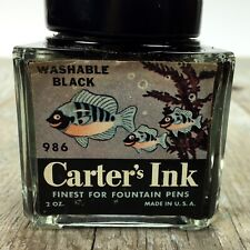Vintage Carter's Fountain Pen Ink Bottle Black, with Fish on Label empty inkwell