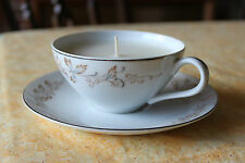 Teacup candle,blue leaves, brown tips & scroll design, vanilla scent cream wax