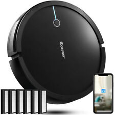Robot Vacuum Cleaner Wifi Control With 6Pcs Hepa Filter Replacement Black