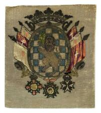 Antique 18thC Armorial Lion Ducal Noble Coronet Heraldry Silk Embroidered Panel