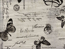 Designer Drapery Upholstery Fabric Linen-Look Butterfly Script - Black / Natural
