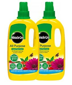 2 x MIRACLE-GRO GROW ALL PURPOSE LIQUID PLANT FOOD FEED CONCENTRATED FERTILISER