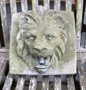 Stone Cement Lion Head water feature Aged 90's Vintage