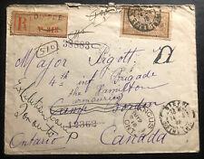1918 Dieppe France WW1 Registered cover To Major Pigott Camp Borden Angus Canada