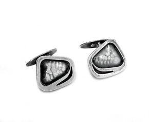 c1965 ORNO - MARTA OBIDZINSKA Signed 800 Silver Modernist Cufflinks Poland Vtg