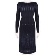 Alaia Exquisite Black Dark Midnight Blue Feu-Follet Form-Fitting Dress FR40 IT44