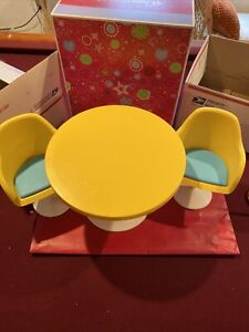 """American Girl Julie's Table & Chairs Very Rare Nice Solid Set for any 18""""doll"""