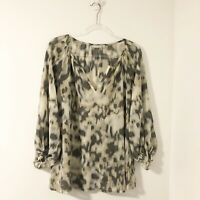 Nordstrom Halogen Women's Size Medium Watercolor Abstract Popover Flowy Blouse