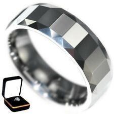 8MM POLISHED MULTI-FACETED MEN TUNGSTEN CARBIDE RING BAND size 9 w/ BOX