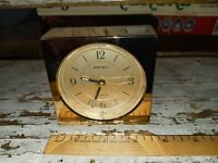 Seiko Square Travel Alarm Clock QEJ150G brass finush works