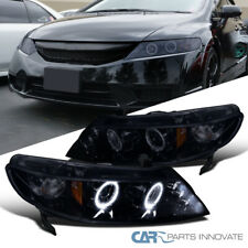 Glossy Black Fit Honda 06-11 Civic 4Dr Sedan Tinted LED Projector Headlights