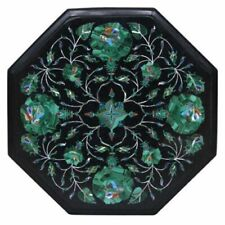 """12""""x12"""" Side Table Marble Inlay Coffee Table Top Semiprecious Stones"""