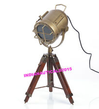Theater Vintage Nautical Spotlight Brown Wooden Tripod Table Lamp Home Decor