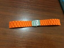 Band Waterproof Deployment Clasp orange 24mm Silicone Rubber Watch Strap