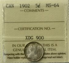 Canada 1902  5 Cents Silver  Edward VII  ICCS MS64 Choice Mint State Nice Tone