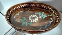 """Oval Stoneware Brown Glazed Hand Painted Beautiful White Blue Flowers 12"""" by 8"""""""