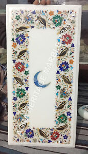 """18""""x24"""" Buy Marble Top Coffee White Table Online Moon Floral Multi Inlaid E768"""