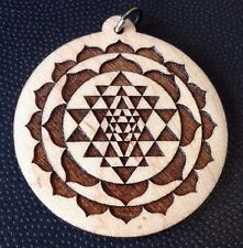 "Sri Yantra Necklace Maplewood pendant 1.75"" Spiritual Enlightenment Sacred Gift"
